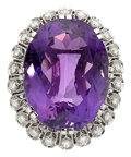 Estate Jewelry:Brooches - Pins, Amethyst, Diamond, Platinum Brooch. ...