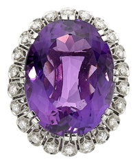 Amethyst, Diamond, Platinum Brooch