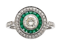 Diamond, Emerald, White Gold Ring