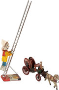 Antiques:Toys, Marx Climbing Fireman & Early 1900's Nonpareil Fire Hose Wagon.... (Total: 2 Items)