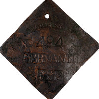 1833 Charleston SERVANT Slave Hire Badge Number 494