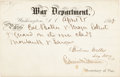 """Political:Small Paper (pre-1896), Edwin M. Stanton and Gideon Welles Partly Printed Pass Signed by Both, allowing """"Col. Baker & Major Eckert & guard on the iron..."""