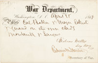 "Edwin M. Stanton and Gideon Welles Partly Printed Pass Signed by Both, allowing ""Col. Baker & Major Eckert &..."