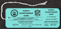 Football Collectibles:Others, 1967 Super Bowl I Unused Participant's Pass. ...