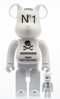 BE@RBRICK X Neighborhood White 400% and 100% (two works), 2018 Painted cast vinyl 10-3/4 x 5 x 3-1/2 inches (27.3