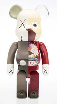 KAWS X BE@RBRICK Dissected Companion 1000%, 2008 Painted cast vinyl 28 x 13-1/4 x 9-1/2 inches (7