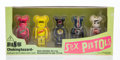 Collectible, BE@RBRICK X Sex Pistols. Sex Pistols 100%, set of five, 2005. Painted cast resin. 2-3/4 x 1-1/4 x 3/4 inches (7 x 3.2 x ...
