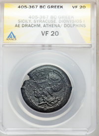 Ancients: SICILY. Syracuse. Time of Dionysius I (405-367 BC). AE drachm or dilitron (31.99 gm). ANACS VF 20