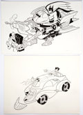 "Original Comic Art:Illustrations, Carmine Infantino and Dave Cooper Batman: The Animated Series ""Hoverbat"" and ""The Jokermobile"" Toy Box Covers Orig..."