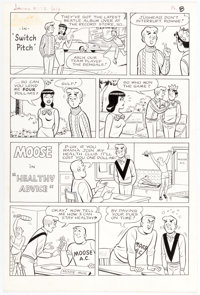 Bill Vigoda (attributed) Laugh Comics #172 2 Complete Half-Page Stories in One Composition Original Art (Archie Co