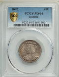 1893 25C Isabella Quarter MS64 PCGS. PCGS Population: (1331/826 and 19/69+). NGC Census: (1023/619 and 7/13+). MS64. Min...