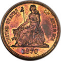 1870 10C Ten Cents, Judd-833, Pollock-923, R.6-7, PR66 Red and Brown NGC. CAC....(PCGS# 71077)