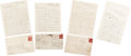 Autographs:U.S. Presidents, (Abraham Lincoln): Samuel Bland Arnold Series of Four Autograph Letters Signed Lincoln Conspiracy-Assassination....