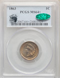 1863 1C MS64+ PCGS. CAC. Eagle Eye Photo Seal. PCGS Population: (1011/386). NGC Census: (674/250). MS64. Mintage 49,840...