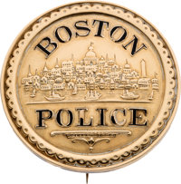 Law Enforcement: 1870 Gold Presentation Police Badge from Boston