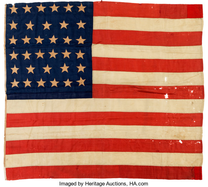 Military & Patriotic:Civil War, Civil War and Beyond: 34-Star Wool Bunting Flag....