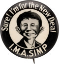 Political:Pinback Buttons (1896-present), Wendell Willkie: Anti-FDR Cartoon Pin....