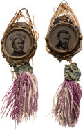 Political:Ferrotypes / Photo Badges (pre-1896), Ulysses S. Grant and Horatio Seymour: Matching Fancy Ferrotypes.... (Total: 2 Items)