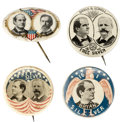 Political:Pinback Buttons (1896-present), William Jennings Bryan: Group Of Four Single And Jugate Examples....
