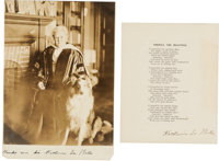 """Katharine Lee Bates: Signed """"America The Beautiful"""" And Signed Photograph.... (Total: 2 Items)"""