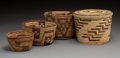 American Indian Art:Baskets, Four Pima / Papago Coiled Basketry Items D...