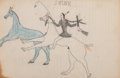 American Indian Art:Photographs, A Sioux Ledger Drawing...