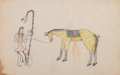 American Indian Art:Photographs, A Sioux Ledger Drawing ...