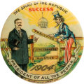 "Political:Pinback Buttons (1896-present), Theodore Roosevelt: The Iconic ""TR at the Gate"" with Uncle Sam 1 1/2"" Cartoon Button. ..."