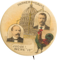 "Alton B. Parker & Theodore Roosevelt: Wonderful 1 3/4"" ""Scales"" Design Button With Baltimore Badge Ba..."