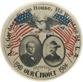 Political:Pinback Buttons (1896-present), McKinley & Roosevelt: Rare and Spectacular 1 ½-inch Red, White and Blue Jugate Pinback. ...