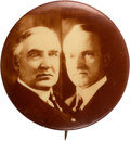"""Political:Pinback Buttons (1896-present), Harding & Coolidge: 1 1/4"""" Real Photo Jugate...."""