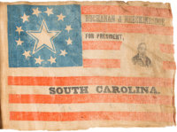 James Buchanan: Important South Carolina Portrait Flag