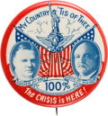 "Political:Pinback Buttons (1896-present), Hoover & Curtis: The Famed ""Statue Of Liberty"" 1 1/4"" Jugate Rarity...."