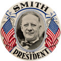 """Political:Pinback Buttons (1896-present), AL Smith: Imposing & Colorful 4"""" Celluloid By Western Badge...."""