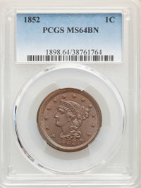 1852 1C MS64 Brown PCGS. PCGS Population: (230/160). NGC Census: (169/165). CDN: $345 Whsle. Bid for NGC/PCGS MS64. Mint...