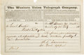 Military & Patriotic:Indian Wars, George Armstrong Custer: An 1866 Telegram From Lt. General William Sherman....