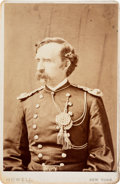 Photography:Cabinet Photos, George Armstrong Custer: A Striking Cabinet Card Boldly Signed & Inscribed By His Sister Margaret Custer Calhoun....