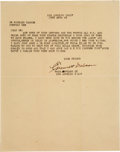 Autographs:Celebrities, Emmett Dalton: A 1928 Typed Letter Signed (TLS) With Great Content....