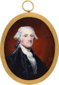 Antiques:Decorative Americana, George Washington: William Birch Enamel on Copper Miniature Dated 1796....