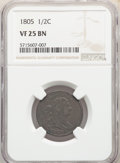 1805 1/2 C Large 5, With Stems VF25 NGC. NGC Census: (0/0). PCGS Population: (7/96). VF25....(PCGS# 1090)