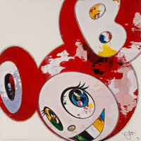 Takashi Murakami (b. 1962) And Then x 6 (Red: The Polke Method), 2013 Offset lithograph in colors on
