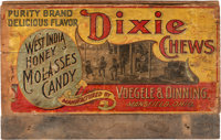 """Dixie Chews"" Candy: Wooden Shipping Box with Colorful Label"