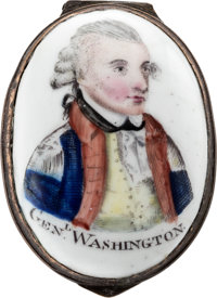 George Washington: Bilston or Battersea Enamel Patch Box