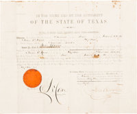 "Sam Houston: Document Signed Appointing Captain John W. Hood To The ""Burleson Guards"" - 2nd Regiment, Texas In..."