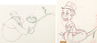 Mother Goose Goes Hollywood W. C. Fields and Charlie McCarthy Animation Drawings Group of 2 (Walt Disney, 1938).... (Tot...