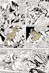 John Buscema and Tom Palmer Avengers #83 Story Page 11 Black Panther and Quicksilver Origina