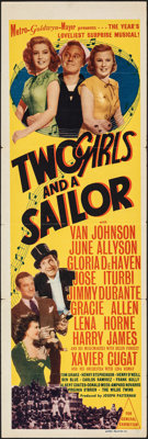 """Two Girls and a Sailor (MGM, 1944). Folded, Very Fine. Australian Daybill (13"""" X 30""""). Musical"""