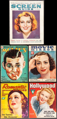 """Hollywood Magazine & Other Lot (Fawcett Publications, 1937). Fine+. Magazines (5) (Multiple Pages, 8.5"""" X 11&qu..."""