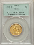 1859-C $5 XF40 PCGS. PCGS Population: (29/95). NGC Census: (12/141). CDN: $1,850 Whsle. Bid for NGC/PCGS XF40. Mintage 3...