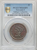 1852 1C N-8, N-19, R.2, MS66 Brown PCGS. PCGS Population: (1/0 and 0/0+). NGC Census: (0/0 and 0/0+). MS66. Mintage 5,06...